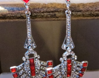 Red and White Crystal drop earrings