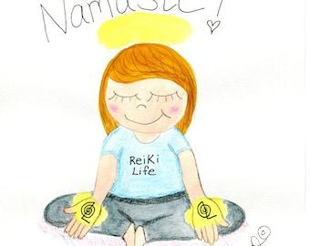 hand drawn, hand painted Reiki Girl artwork