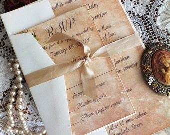 Vintage Romantic Wedding Invitation with Ivy SAMPLE Handmade by avintageobsession on etsy