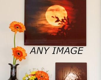 Moon Photograph on aluminum, photo on metal, night sky image on aluminium, high gloss dark colours wall art, full moon art, crescent moon