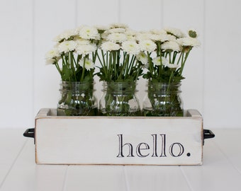 Hello Sign Wood Planter Box with Mason Jars,  Wedding Decor or Home Entryway, Hello Welcome Sign.  Color No. 2(White) Country Chic