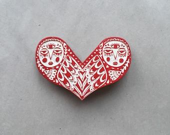 Owl Love brooch