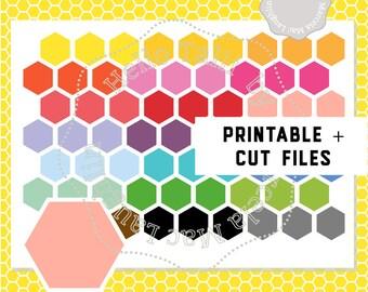 HONEYCOMB PLANNER STICKERS Printable Stickers+ Cut Files- Hexagonal MulticolorStickers Erin Condren Mambi Filofax Silhouette Cricut
