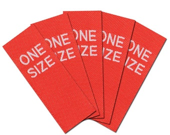 25-woven textile size labels ONE SIZE, red/white for clothes, 1.5 x 4 cm
