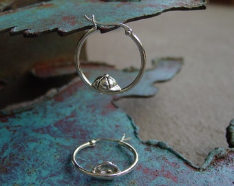 Equestrian Sterling Silver Jockey Helmet Cap in Hoop Earrings Equestrian Jewelry Horse Jewelry