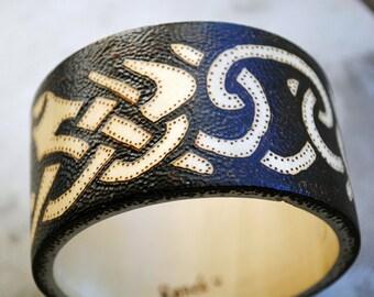 Viking Wood Burned Bracelet Bangle Norse Design Brown Knotwork Historical