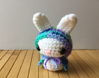 Magical Forest Moon Bun - Amigurumi Bunny Rabbit with Removable Hood - Red Riding Hood Style Bunny