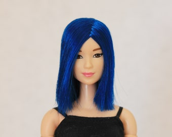 Blue wig for Barbie doll 4 inch