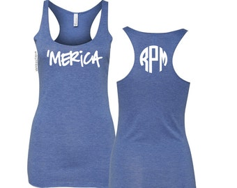 Fourth of July Tank, Merica Tank, Merica Shirt, Monogram Tank, 4th of July Tank Top, 4th of July Shirt Womens, Fourth of July Shirt