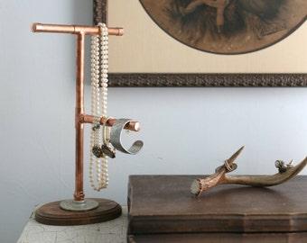 Copper Pipe Jewelry Display Stand Organizer | Industrial Modern Dorm Decor