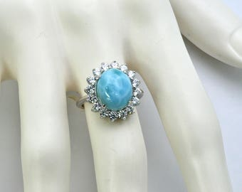 Larimar Classic Ring 10X12 Oval / White Sapphire Accents .925 Sterling Silver Size 6