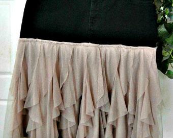 Petite Gamine black jean skirt mauve tulle frou frou French bohemian goddess mauve ruffled Renaissacne Denim Couture Made to Order