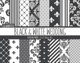 Black and White Wedding Digital Paper Package. Damask - Lace Backgrounds. Printable Papers Set. Patterns Digital Scrapbook. Instant Download