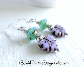 Colorful Leaf Earrings Silver Dangle Earrings Lilac Purple Turquoise Blue Czech Glass Dangles Nature Gift Tropical Garden Gift for Her