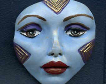Polymer Clay Large Blue Gold  Detailed Tribal Face  Un Drilled LGBL  1