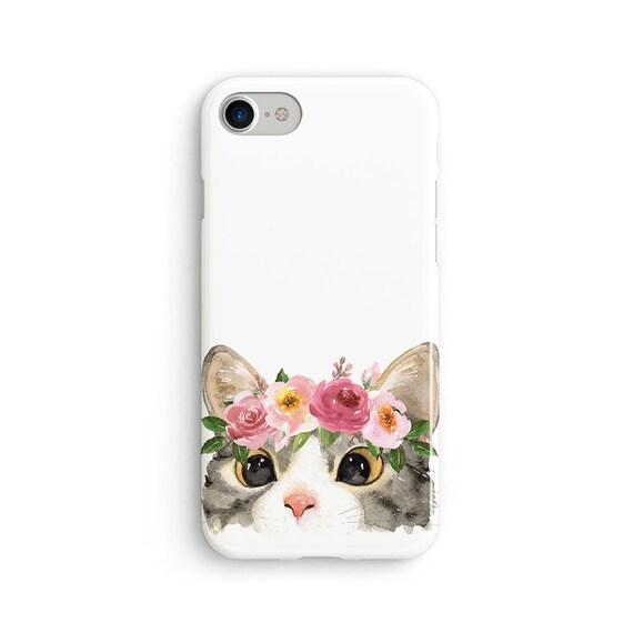 Floral headband cat iPhone X case - iPhone 8 case - Samsung Galaxy S8 case - iPhone 7 case - Tough case 1P094