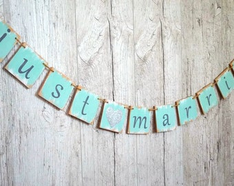 Just Married banner Mint green wedding decoration Wedding banner Custom colors