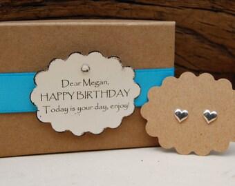 Valentine Gift ~ Heart Stud Earrings - Solid Sterling Silver Post Earrings - Love Earrings - Stud Earrings - Birthday Gift - Kids Earrings