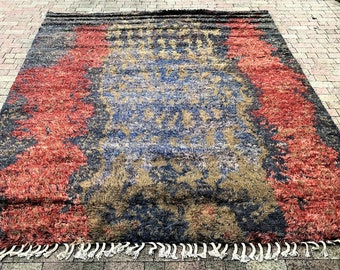 MOROCCAN beni OURAIN 8'X10' Hand Knotted In Hand Spun Wool Rug DS-1223