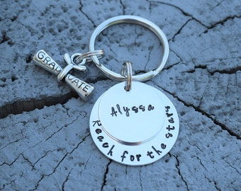 Reach for the stars personalized graduation keychain.  Graduation gift.  Graduation present. 2018 grad.