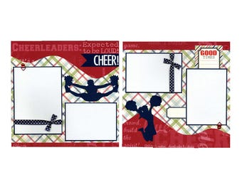 Premade Cheerleader Scrapbook Page Set - Cheer