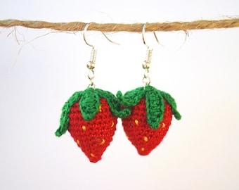 Cute Strawberry Earrings. Crochet Earrings. Amigurumi Earrings. Gift for friend. Birthday gift for her. Summer Earrings