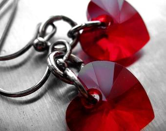 Tough Love - Red Heart Earrings, Swarovski Crystal Red Heart Earrings with Black Gunmetal, Gothic Valentines Day Gift, Goth Girl, Teen Girl