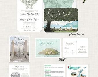 Como Lake Bellagio Destination wedding invitation Lago di Como Italy Wedding Invitation European Illustrated invitation Deposit Payment