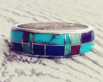 Sterling Silver Opal and Turquoise Inlay Band Vintage Sterling Silver Ring Size 8.75