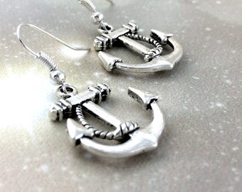 Sterling Silver Anchor Earrings - Navy Girlfriend Gift - Navy Wife Jewelry - Marine Wife Gift - Nautical Jewelry For Her - Clip On Hook