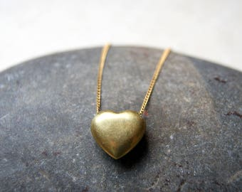 Brass Heart Choker - vintage brass heart pendant with vintage brass chain
