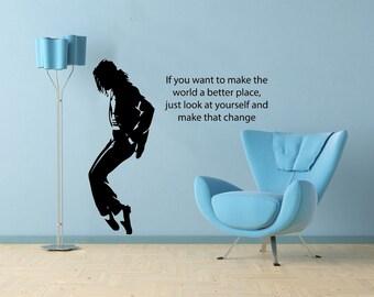 Michael Jackson image and Lyric Vinyl Wallart