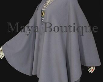 Lilac Gray Cape Ruana Wrap Coat Wool Cashmere Blend by Maya Matazaro USA Made