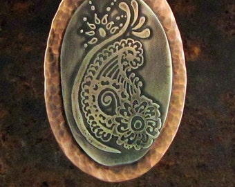 Sterling Silver Etched Pendant, Henna Style Design, with Copper Frame