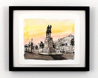 Stonewall Jackson- Monument Ave, Richmond VA - Giclee Print