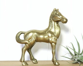 Brass Horse, Small Brass Horse Figurine, Brass Animals, Boho Farmhouse, Cowgirl Cowboy Decor, Gifts Her Friend, Accents, Brass Decor