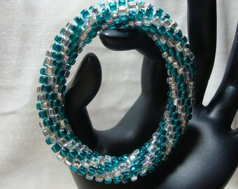 Aqua and Silver Beaded Crochet Bangle Bracelet, Rolls on Over Your Hand, Ready to Ship!