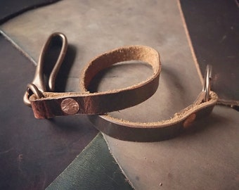 The Bigelow leather and copper key or wallet lanyard