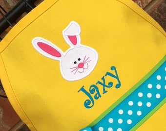 Personalized Bunny Rabbit Apron - Kids Apron, Adult Apron, Apron, Yellow Apron - Girl Apron - Boy Apron - Kids Apron - Mommy and Me Apron