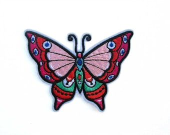 Butterfly Embroidered patch, Folk Art Butterfly, Iron on, Insect patch, Cute Patch, Jeans Patch, Jacket patch, Fashion, Pretty Butterfly