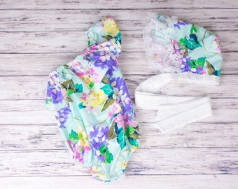Hydrangea One Shoulder Ruffle Baby Romper- Floral romper, Spring outfit, Easter romper, Easter outfit, Vintage inspired romper