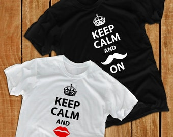 Keep calm groom gift from bride shirt gift for groom shirt husband gift groomsmen gift bride and groom shirts mustache shirt bride shirt