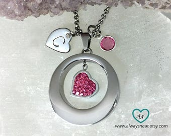 Heart urn pendant // Stainless steel cremation necklace // Cremation jewelry //Memorial Urn // Always in my heart keepsake necklace //ashes