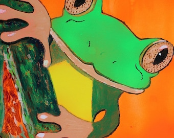 CURIOUS frog original acrylic painting on wood