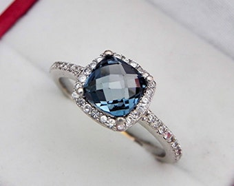 AAAA London Blue Topaz 7x7mm Checkerboard Cushion 1.45 Carats   in 14K white gold Halo ring with .30 carats of diamonds 1861