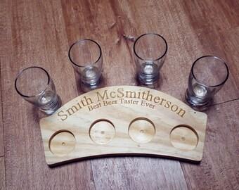 Custom Beer Flight WITH glasses, beer tasting tray, beer lover gift, craft beer flight, gifts for him, beer lover gift, whiskey taster