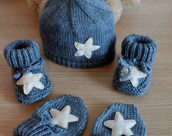 Hat booties hat and mittens 0/3 months baby