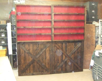 Trade Show Rustic custom portable wall with shelfs - display for shop or booth -