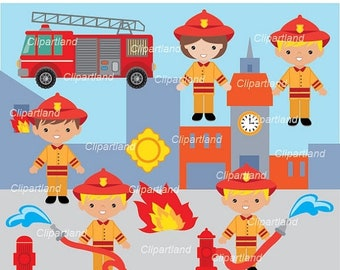 ON SALE INSTANT Download. Firefighter clip art. Cfir_1. Personal and commercial use.