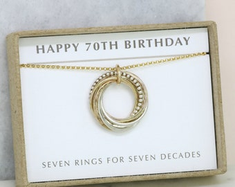 70th birthday gift, birthday necklace for 70th, gift for 70th birthday necklace, gift for mother, sister, wife, - Lilia